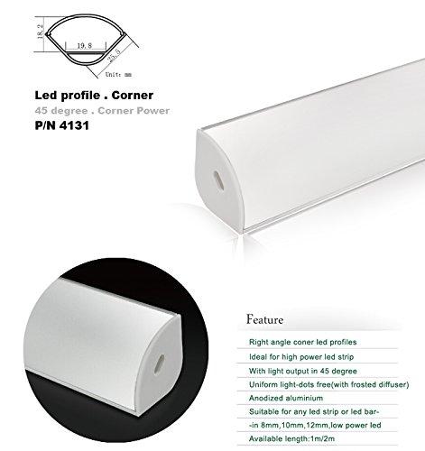 4131 1M/3.3Ft V-Shape Aluminum Channel - Led Aluminum Extrusion For Flex/Hard Led Strip Light White/Milk Cover