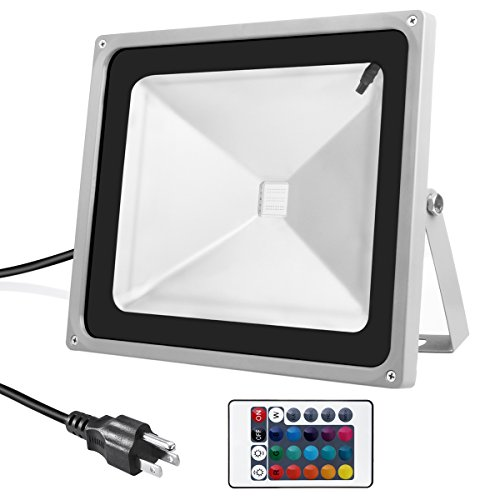 Warmoon outdoor led flood light 50w rgb color changing waterproof warmoon outdoor led flood light 50w rgb color changing waterproof security lights with 3 prong us plug remote control aloadofball Image collections