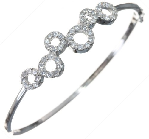 Elegant 925 Sterling Silver Ladies Bangle with Cubic Zirconia/CZ - 6cm*2mm, 10 Grams