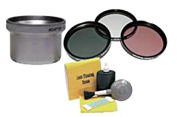 Canon Powershot A720IS 3 Piece Lens Filter Kit (Includes Metal Lens Adapter) + Nwv Direct 5 Piece Cleaning Kit