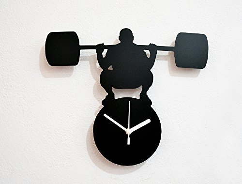 mr-universe-weight-lift-silhouette-wall-clock
