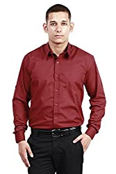 Trendster Winsome Solid Red Formal Shirt