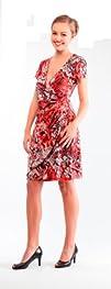 Womens Elegant Short Sleeve V-Neck Wrap Dress