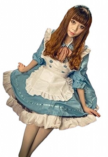 POJ Maid Costume Dress of Japan [ L Size Blue / Pink for Women with Apron ] Cosplay (L, Blue)