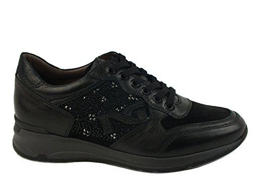 NERO GIARDINI Sneaker lacci fiori donna PELLE NERO BLACK A616054D 39