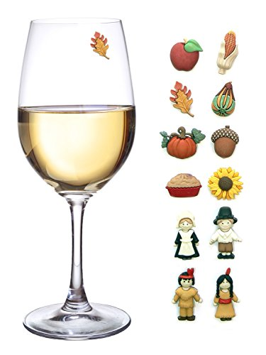 Thanksgiving magnetic wine glass charms set of perfect