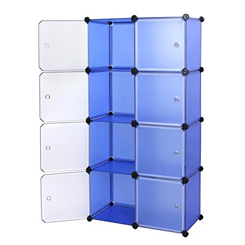 ® Regalsystem DIY Regal Schrank Garderobenschrank Wäscheschrank Kleiderschrank Aufbewahrung Blau 148 x 75 x 37 cm LPC24Q