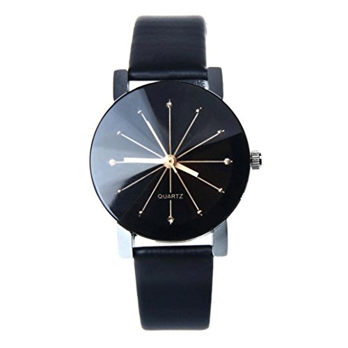 Women watch,SMTSMT Women's Quartz Dial Leather Wrist Watch Round Case-Black (Ladies Blue Dial Watch compare prices)