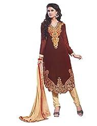 Trendz Apparels Maroon 60 Gm Georgette Straight Fit Salwar Suit