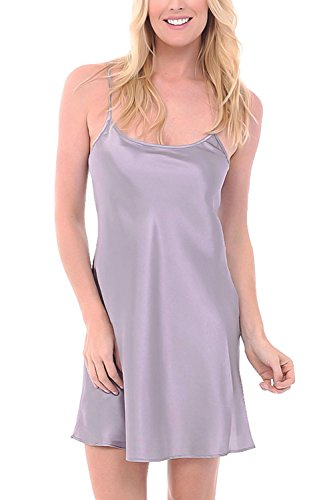 Del Rossa Women's Satin Nightgown, Long Camisole Chemise, Small Lilac Gray (A0766LGRSM)