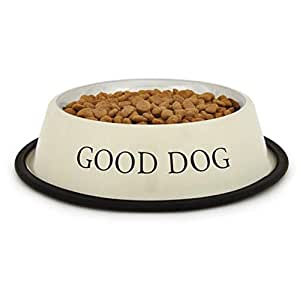 ProSelect Stainless Steel Good Dog Bowl, 8-Ounce, Ivory
