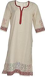Artisan Women's Cotton Straight Kurta (CZF10011_M, White & Red, M)