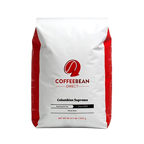 Coffee Bean Direct Colombian Supremo, Whole Bean Coffee, 5-Pound Bag (Coffee Beans 5 Pounds compare prices)