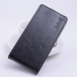 Multi Color Flip PU Leather Protective Case Cover For Kazam Tornado 348 - Black