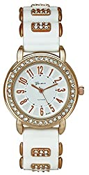 Geneva Platinum Studded Analog White Dial Womens Watch- GP-024
