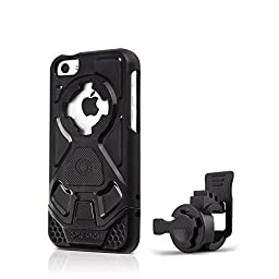 Rokform iPhone 5C Sport Series Quad Tab, Twist Lock, Universal Bar Mount holder kit for Bikes, Strollers and more with iPhone 5C rugged protective case.