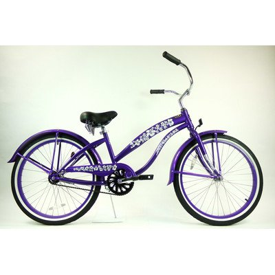 Women's Single Speed Beach Cruiser Frame Color: Purple