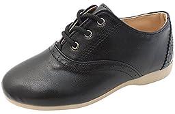 VOVOshoes Girls Boys Oxford School Uniform Flat Shoes MINI003 (Toddler/Youth) (8 M US Toddler, Black)