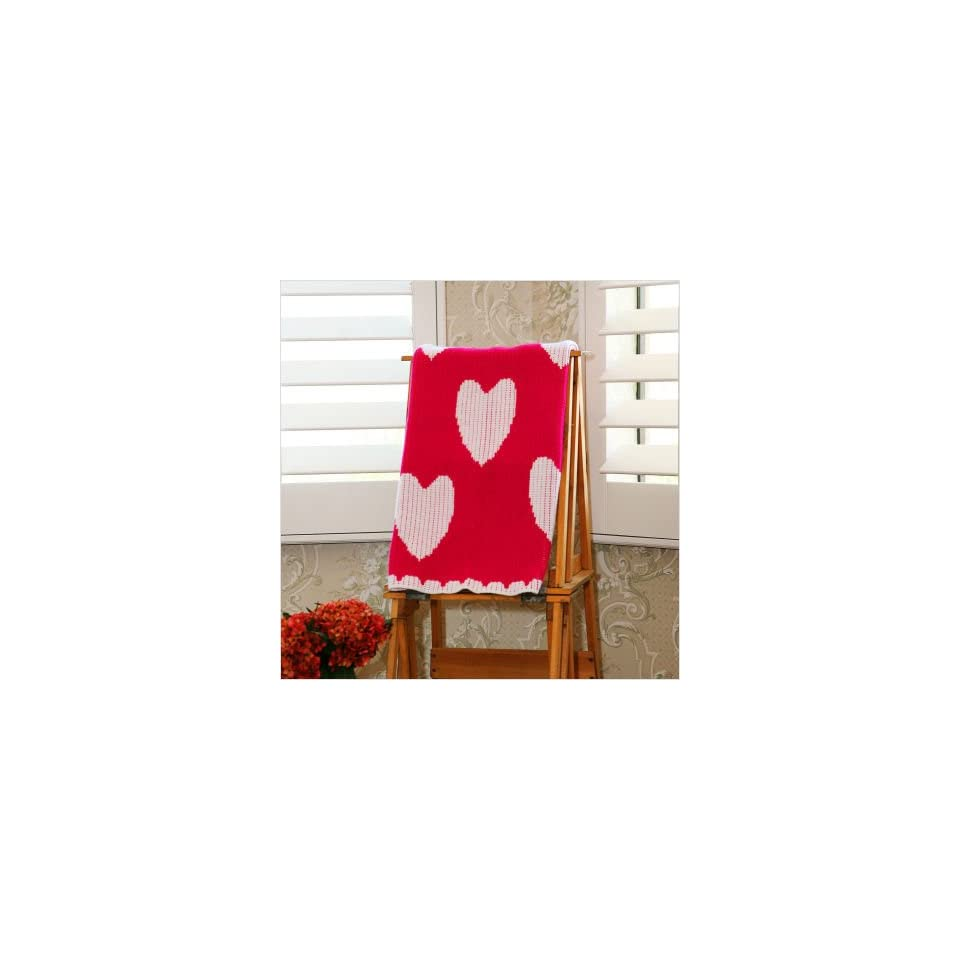 Hot Pink and White Heart Stroller Blanket