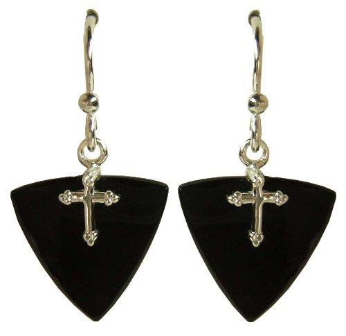 Jody Coyote Silver Black Wedge Cross Earrings 1331702