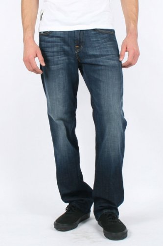 7 For All Mankind - Mens Austyn Straight Leg Jeans in Deep Blue, Size: 34, Color: Deep Blue