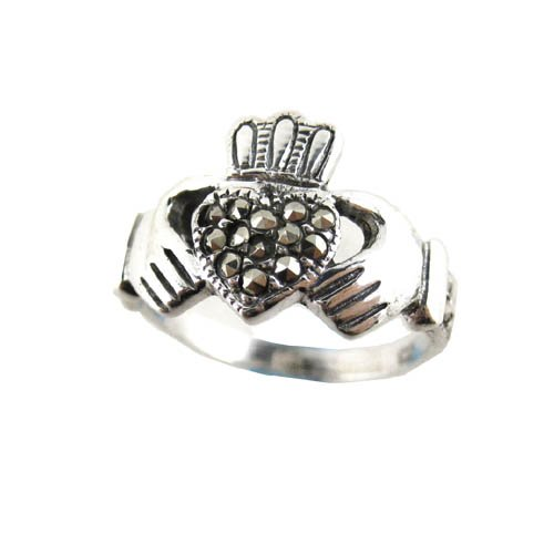 Sterling Silver Marcasite Celtic Claddagh Ring, Size 7