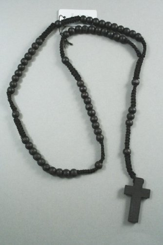 Men's/Women's Black Wooden Rosary Bead Necklace with Wooden Cross