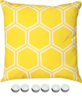 "Manual Woodworkers SLHCYW Yellow Honeycomb 18"" x 18"" Climaweave Outdoor / Indoor Pillow with 6-Pack of Tea Candles from Manual Wood Workers & Weavers"