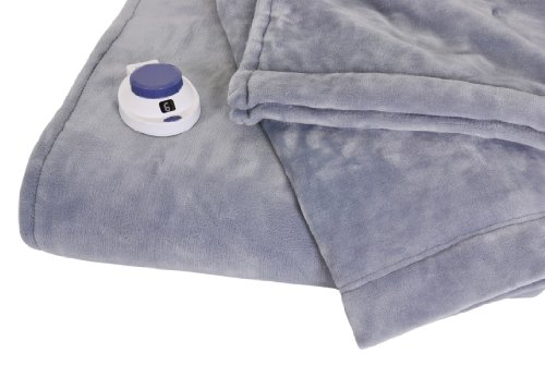 Soft Heat Luxurious Macromink Fleece Low-Voltage Electric Heated Blanket, Full Size, Blue