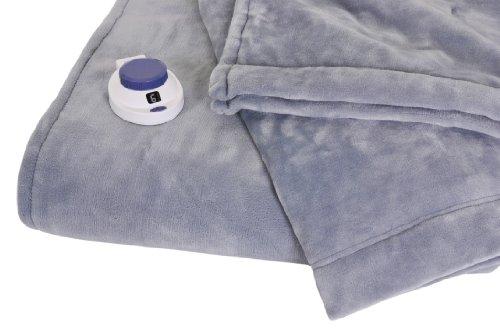 Soft Heat Luxurious Macromink Fleece Low-Voltage Electric Heated Blanket, Full Size, Blue