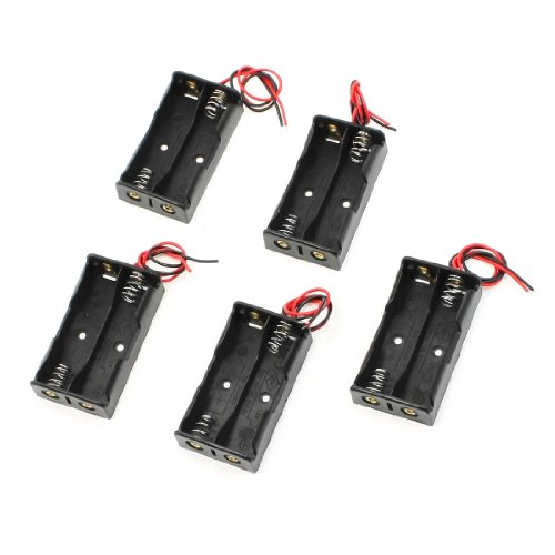 uxcell® 5 Pcs 2 x 1.5V AA Battery Holder Case Storage Box Black w Wire Leads