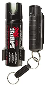 Sabre Red Police Strength Pepper Spray Home & Away Protection Kit Compact Black Case With Quick Release & Glow-in-dark Home Spray With Wall Mount