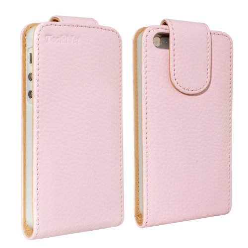 Tecknet® Apple Iphone 5 Top Flip Genuine Leather Case For New Apple Iphone 5 + 2 Iphone 5 Screen Protectors - Pink
