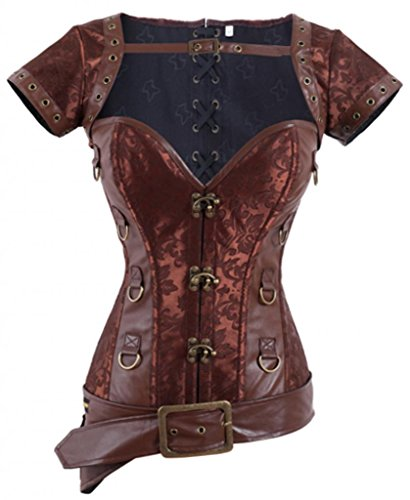 Alivila.Y Fashion Women's Victorian Steampunk Corset 2978A-Coffee-XL