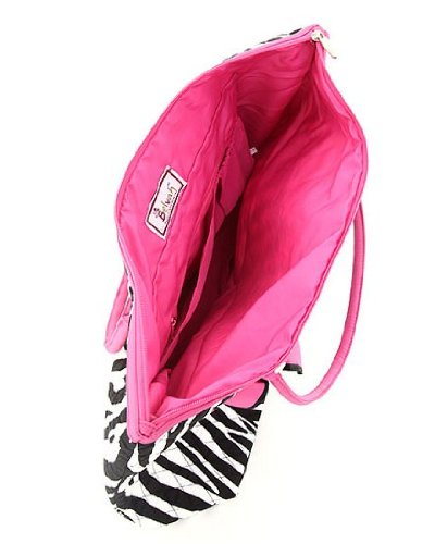 Medium Quilted Zebra Print Tote Bag – Pink/Black (15x13x5)