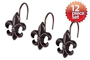 Stylish decorative fleur de lis hand crafted ceramic bronze metal shower hook curtain 12 piece set - Fleur de lis shower curtain hooks ...