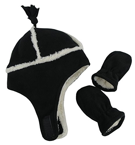 N'Ice Caps Little Boys and Baby Sherpa Lined Micro Fleece Pilot Hat and Mitten Set (6 - 18 Months, Black/White Infant)