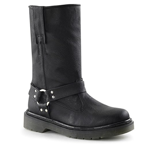 Womens Black Motorcyle Boots with 1.25 Heels and Harness Detailing