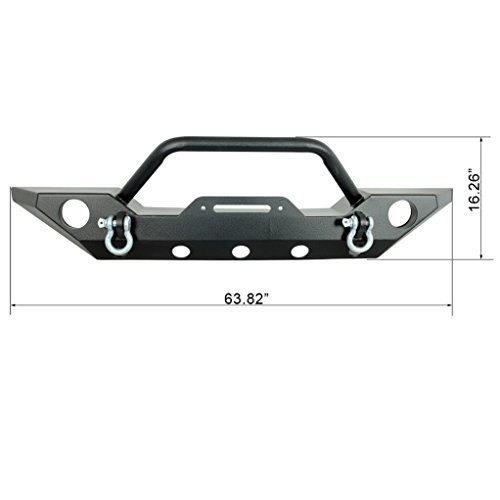 Restyling Factory Jeep Wrangler JK Black Front Bumper with D-Rings and Jeep JK Wrangler Winch Plate