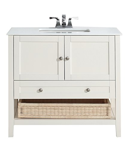 Simpli home cape cod 36quot bath vanity with white quartz for Bathroom vanities mokena il