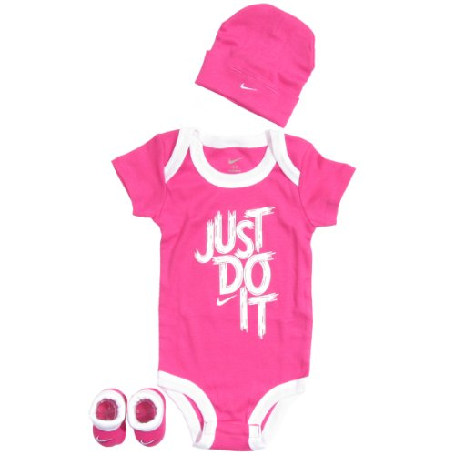 Nike Baby 3 Piece Brush Stroke One Piece Outfit Set (0-6 months) Pink, 0-6 Months
