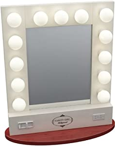 broadway table top lighted vanity mirror white. Black Bedroom Furniture Sets. Home Design Ideas