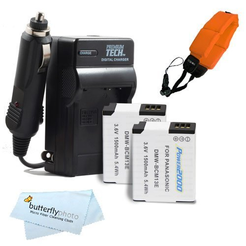 2 Pack Battery And Charger Kit For Panasonic Lumix Dmc-Ts5, Dmc-Ts5D, Dmc-Ts5K, Dmc-Ts5A, Dmc-Ts5S Tough Digital Camera Includes 2 Extended Replacement (1500Mah) Dmw-Bcm13E Batteries + Ac/Dc Rapid Travel Charger + Float Strap + Microfiber Cleaning Cloth