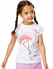 Pure Cotton Embellished Flamingo Print T-Shirt