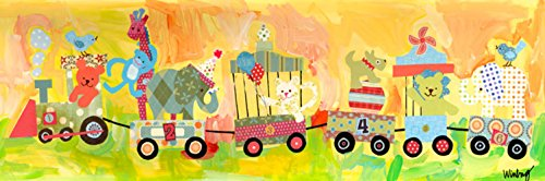 Oopsy daisy Circus Train Stretched Canvas Wall Art by Winborg Sisters, 36 by 12-Inch