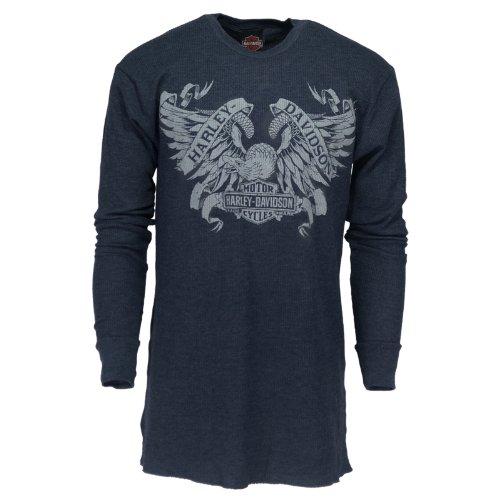 H-D Overseas Tour Tat Eagle Thermal Long Sleeve T-Shirt Men'S, Xx-Large, Heather Indigo