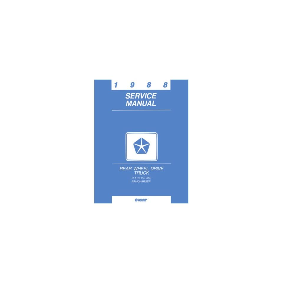 1988 DODGE RAMCHARGER Shop Service Repair Manual Book
