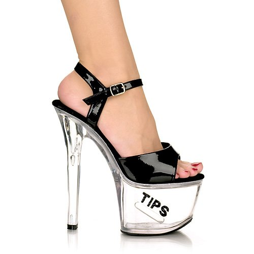 "TIPJAR-709-5 7"" Sandal, Black/Black Glitter-Size 8"