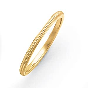 14ct 1.5mm Milgrain Band Ring - Size J 1/2 - JewelryWeb