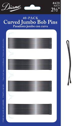 Diane Curved Jumbo Bob Pins, Black, 40/card